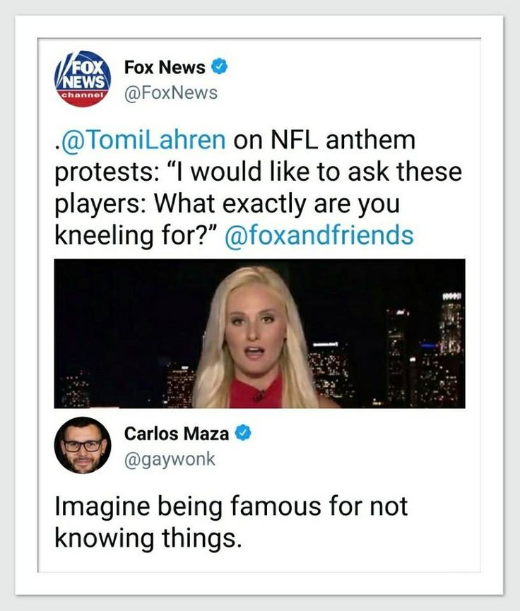 Hate to say it but, this is why there are dumb blonde jokes (and I'm a blonde).  Anyone with an open mind and a brain understands that Colin Kaepernick started this to protest black people being killed by police officers.  But then, you'd have to actually BELIEVE that black people are being killed for no reason by police officers to understand this.  Is this bimbo the spawn of Ann Coulter?