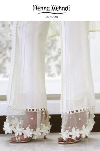White Embellished Trousers