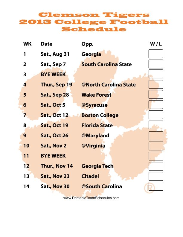 clemson schedule football 2013 | Printable Clemson Football Schedule 2013 - Printer Friendly