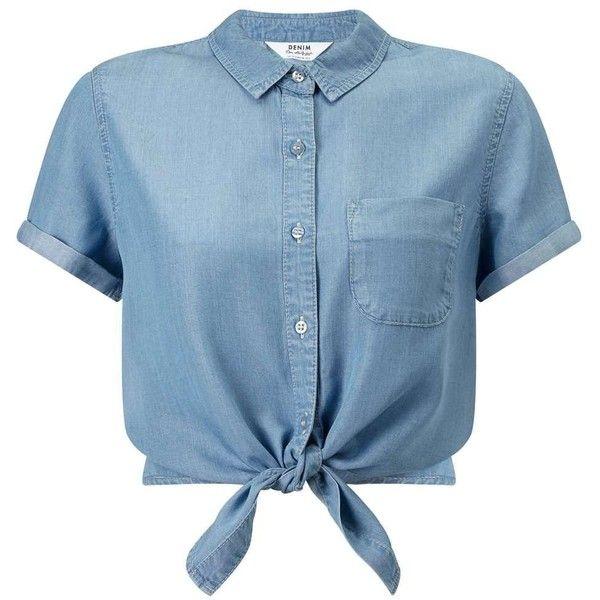 Miss Selfridge Super Soft Denim Tie Crop (55 BRL) ❤ liked on Polyvore featuring tops, blouses, shirts, crop tops, blusas, light wash denim, blue button-down shirts, blue shirt, shirt blouse and summer shirts