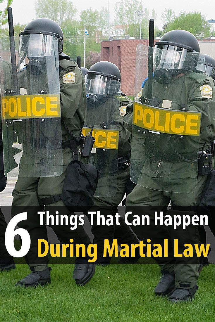 Martial law usually happens during a large riot, a terrorist attack, or a large scale natural disaster. Here are a few things that could happen.