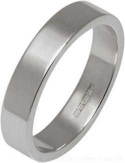 4mm Silver Flat Profile Wedding Ring