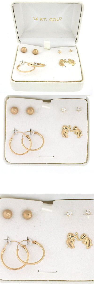 Earrings 98476: 8Pc 14K Yellow Gold Baby Earring Set In Gift Box- 4 Pairs Of Earrings For Babies -> BUY IT NOW ONLY: $120 on eBay!