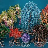 Colourful forest. Collection of uniquely handmade bead and wire tree sculptures by Twysted Roots.