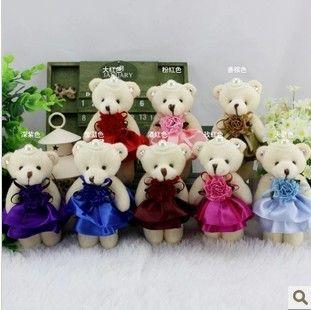 12 ШТ. 12 СМ жемчужина алмазов соединены мини плюшевый мишка плюшевый брелок медведь игрушки/мультфильм букет упаковочный материал/свадебные подарки