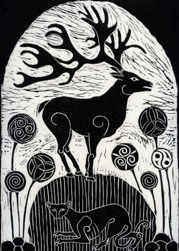 Stag on Celtic Standing Stone by Anne Hutchings (1943).  Anne has lived and worked in London all of her life. Linocut prints has been her preferred medium for the past decade. Her work is based on Celtic and Medieval art.  This design is based on zoomorphics cut into rocks by the Celts in Europe. Art greeting card published by Art Cove.