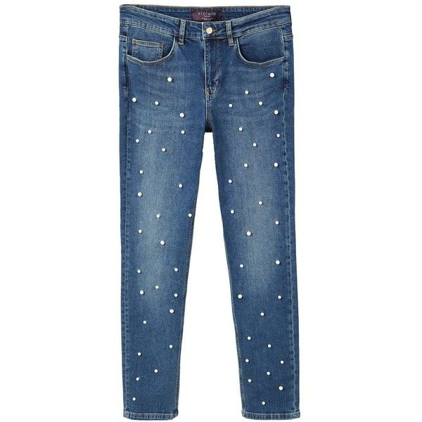 Pearl Embroidery Jeans ($79) ❤ liked on Polyvore featuring jeans, zip fly jeans, blue pearl jeans, zipper fly jeans, dark rinse jeans and blue jeans