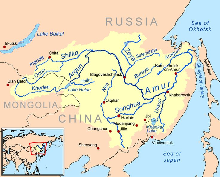 Map of the water basin of the AMUR River, Eastern Asia, CC Challenge A Geography