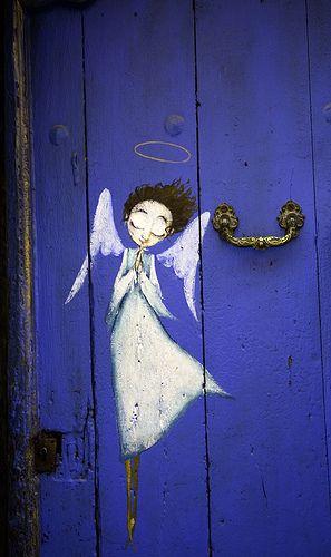 Angel on the Door, Roquefort-les-Pins, Provence-Alpes-Cote d'Azur, France √