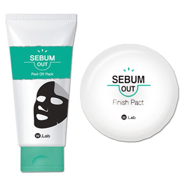 W.Lab Blackheads Purifying Sebum-Out Peel Off Pack(100ml)+ Sebum Out Finish Pact #Wlab