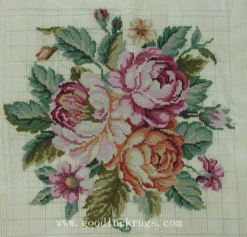 Roses Preworked Wool Needlepoint Canvas Chair Cover Frame