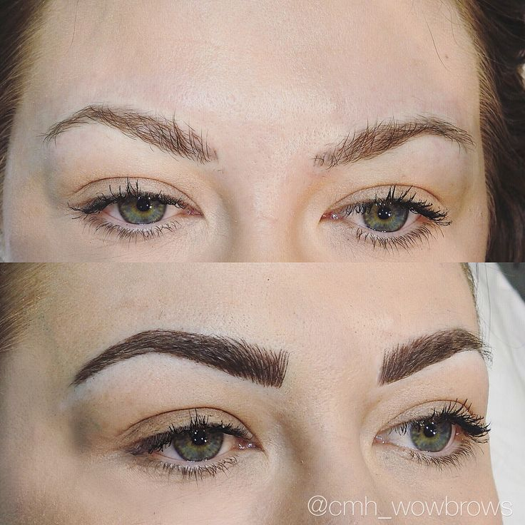 Hair stroke feather touch tattooed eyebrows Cosmetic tattoo feathering microblading Melbourne