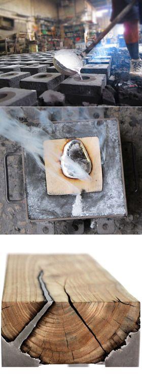 usar luminio  de latinha de cerveja derretida para preencher    falhas na madeira .