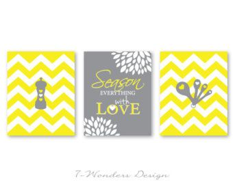 Kitchen Art Prints Season Everything With Love With Chevrons   Set Of (3)  5x7, 8x10 Or 11x14 // Gray, Yellow // Kitchen Decor
