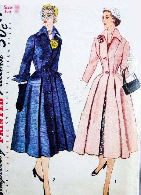 551118357c Beautiful 1950s DIOR Inspired Princess Style Coat or Coat Dress Redingote  Pattern SIMPLICITY 8472 Nipped In Waist Dramatic Wing Collar and Cuffs Bust  32 ...