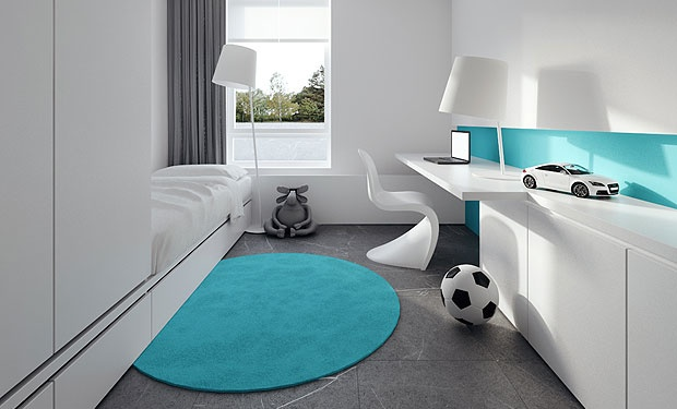 white, gray and turquoise. http://tamizo.pl/. I would add a pop of bright yellow accents. Maybe a pillow or a subtle pattern or panel on the curtian