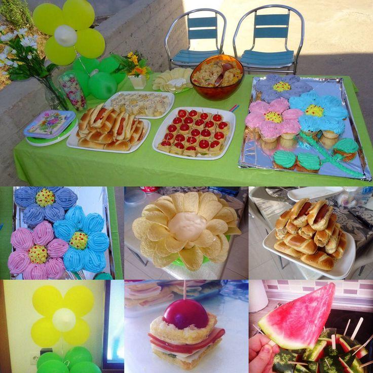 """Μπουφέ γενεθλίων """"μαργαρίτα"""" 🎂🌼🎈 (flower birthday party ideas)"""