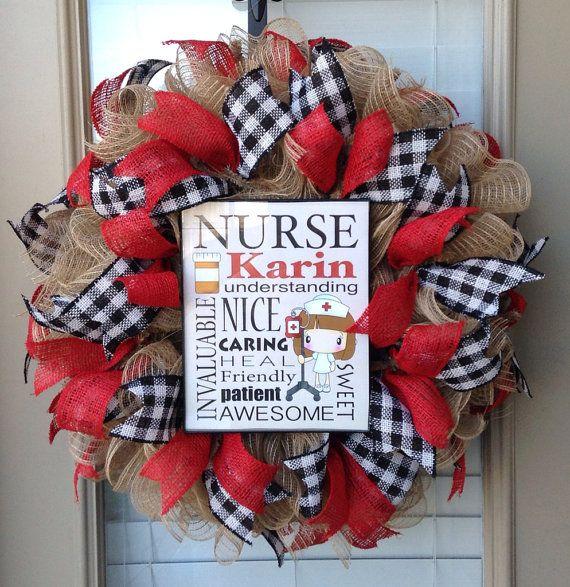 Personalized Nurse Wreath on Etsy, $75.00