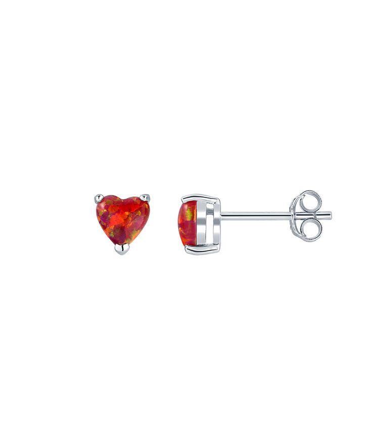 Red Opal & Sterling Silver Heart Stud Earrings
