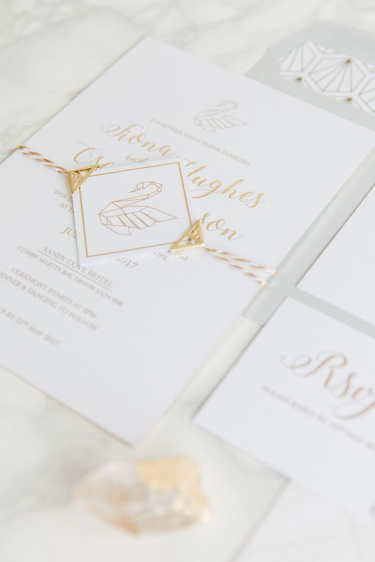 Origami Swan Luxury Wedding Stationery Collection With Gold Foiling And Gilt Edge Visit