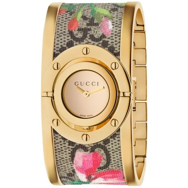 Gucci YA112443 Women's Twirl Fabric Strap Watch ($1,070) ❤ liked on Polyvore featuring jewelry, watches, gucci wrist watch, bangle watches, water resistant watches, colorful watches and dial watches