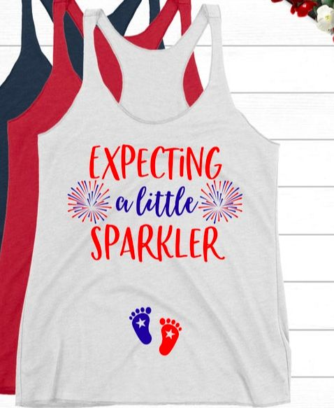 4th of July Pregnancy Announcement Shirt | Expecting a Little Sparkler Tank Top | Patriotic Mom to Be Independence Day Baby Reveal Pregnant – Pregnancy Announcements