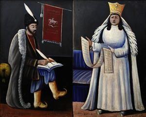 Shota Rustaveli and Queen Tamar - Niko Pirosmani