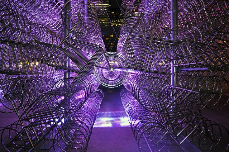ai weiwei's forever bicycle sculpture at scotiabank nuit blanche, toronto