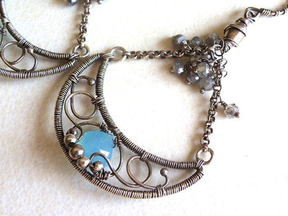 Wire wrapped handmade chandelier Sterling silver earrings Chalcedony Labradorite gemstone blue jewelry via Etsy
