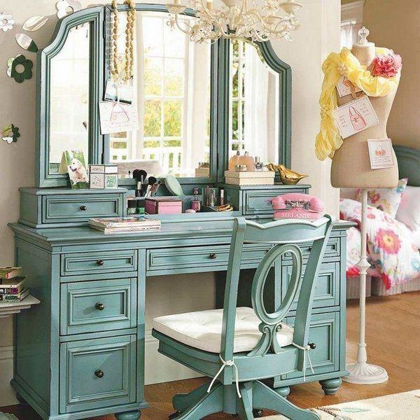 vanity table with tri fold mirror storage drawers teen girl bedroom furniture ideas