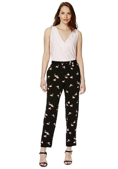 Tesco Direct F Amp F Flamingo Print Tapered Trousers