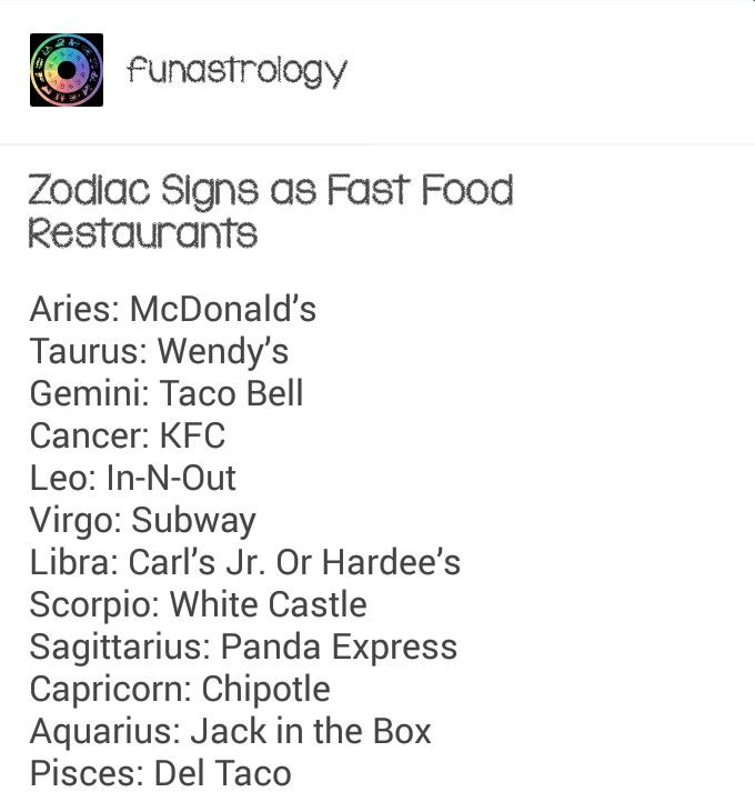 Zodiac Signs As Fast Food Restaurants Aries Pinterest