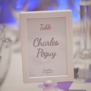 Nom de table sur mini cadre à poser