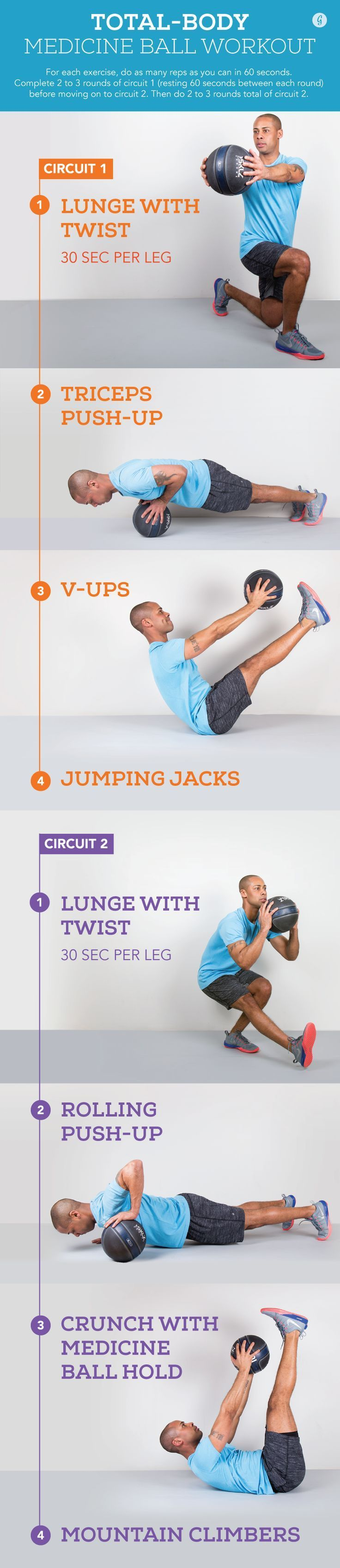 Total-Body Medicine Ball Workout  #workout #totalbody #exercises