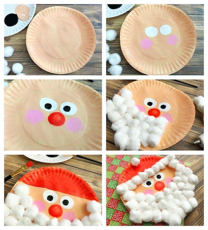 Papá Noel en plato de papel con barba en bolas de algodón, características de dibujo …
