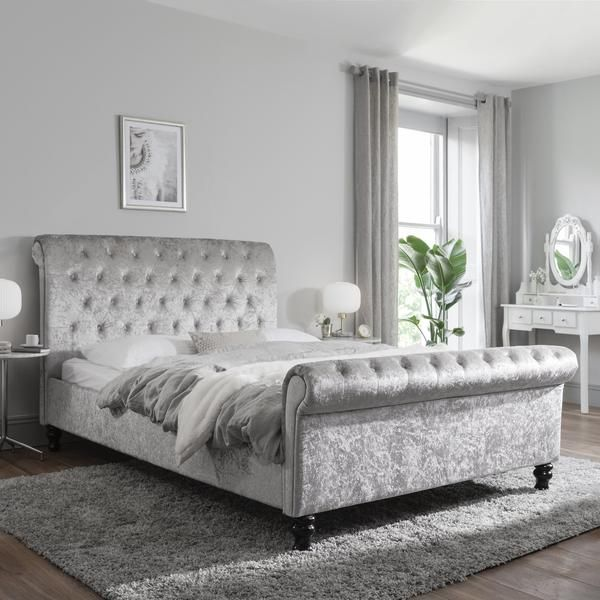 Silver Crushed Velvet Sleigh Bed Frame King Size In 2020 Crushed Velvet Sleigh Bed Upholstered Bed Frame King Bed Frame