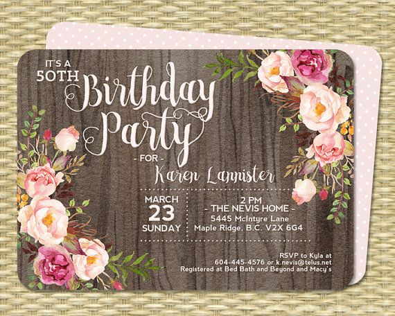 50th Birthday Invitation Rustic Watercolor Dark Wood Roses