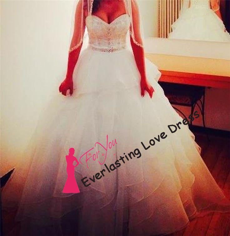 Привлекательный милая ручной работы бисероплетение лиф раффлед бальное платье из органзы свадебные платья кристаллами свадебные платья халат mariage
