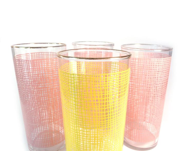 pink and yellow drinking glasses by Federal - set of four
