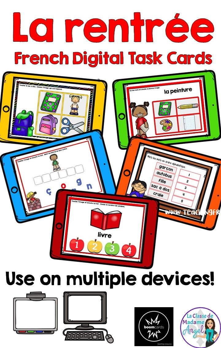 La rentrée arrive! Celebrate Back to School with this fun set of digital task cards hosted on Boom Learning!  Perfect for Core French or beginning French Immersion students, this set will have students reading, writing, listening to and spelling a variety of classroom themed vocabulary!  Perfect for any digital device!
