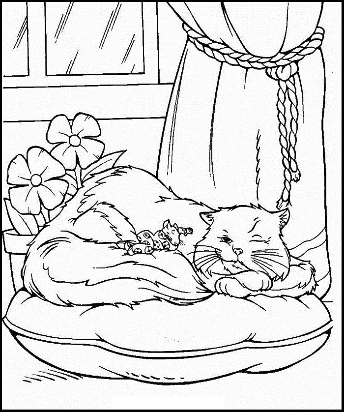 Stuart Little Sleeping With Cat Coloring Pages For Kids Printable