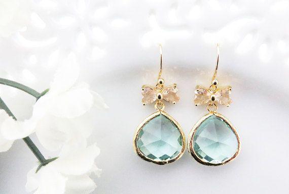 Bow Earrings Aquamarine Earrings Gift for Girls Bridesmaids