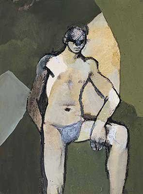 Keith Vaughan Ochre Figure, 1952 signed 'Keith Vaughan' lower right watercolour, gouache, pen and ink