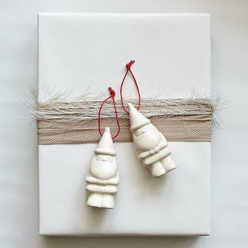 how to wrap - Porcelain Santa Ornament #WestElm