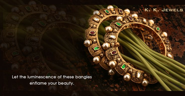 No woman is the same after they have worn an ornament crafted by K.K Jewels. Adorn yourself with these antique jadtar gold bangles encrusted with luminescent pearls and see yourself be transformed into a radiant sight of womanhood that no one has ever seen before.The magnificent sparkle of our jewellery will dazzle you to the core and then ignite every aspect of your beauty. #KKJewels #Jewellery #Ahmedabad