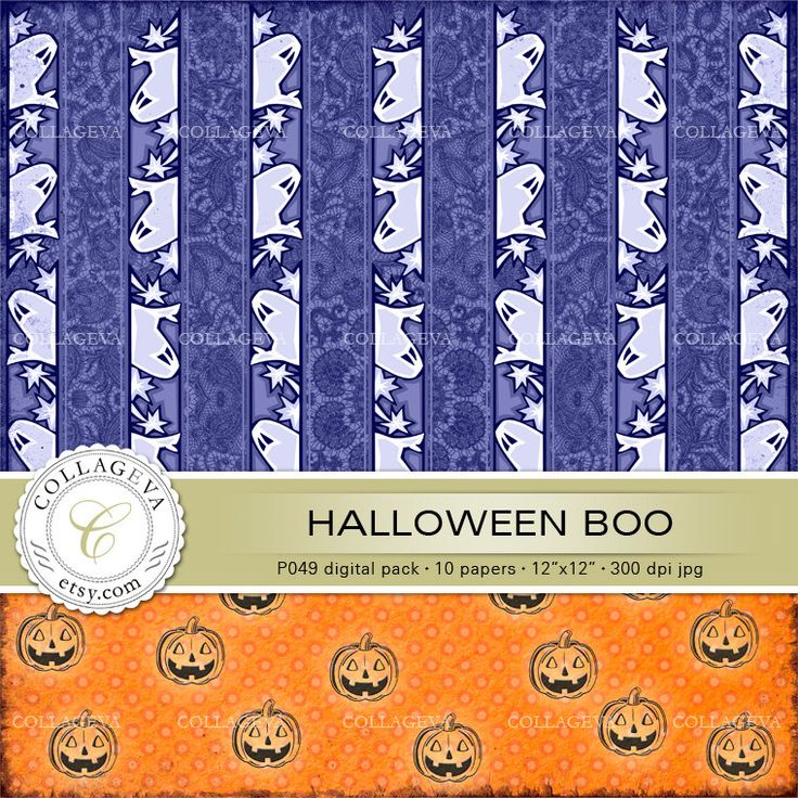 """Halloween Boo Digital Pack, 10 Papers 12x12"""", Shabby Lace Grunge backgrounds, Ghosts, Skeletons, Pumpkins, Orange, Purple, Polka-dot (P049) by collageva on Etsy"""