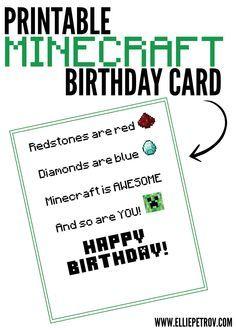 Free Printable Minecraft Birthday Card