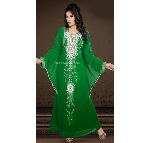 Green Faux Georgette Stylish And Elegant #Caftan