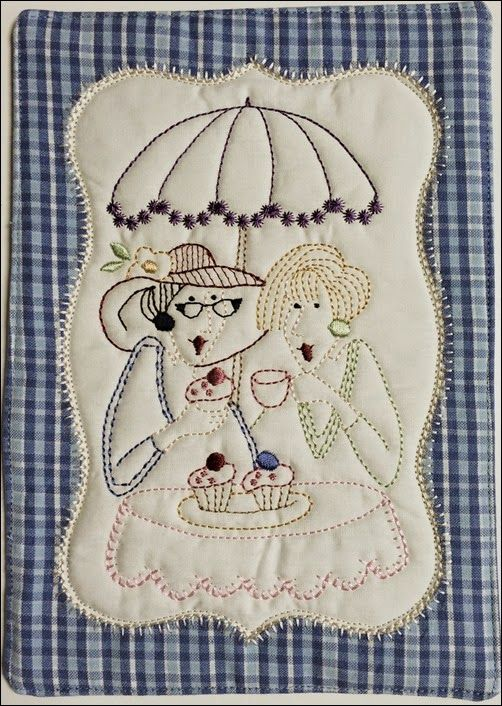 Stitchery and applique, digitized for machine embroidery.
