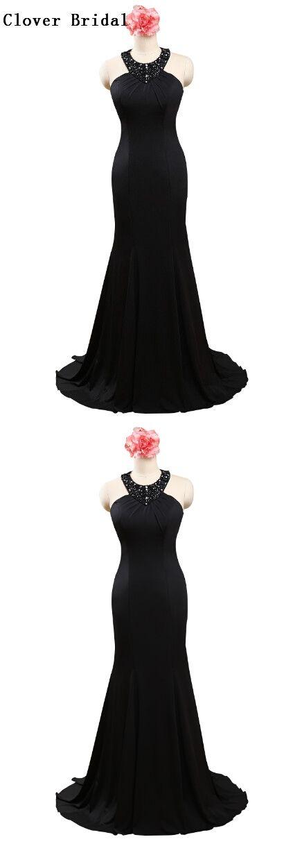 Halter Top Beaded Elegant Black Jersey Long Mermaid Prom Dress Vestidos De Prom Largos Black Masquerade Dress,PD030